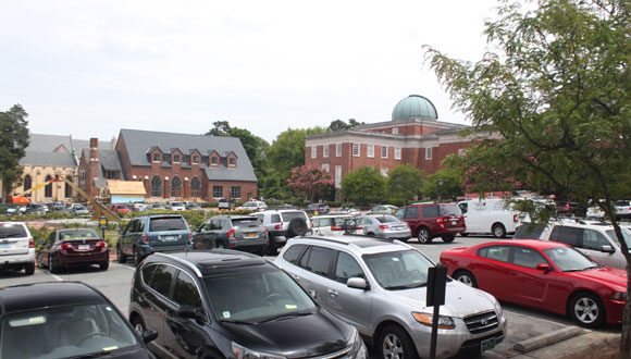 Cars in Morehead Lot in front of Morehead Planetarium