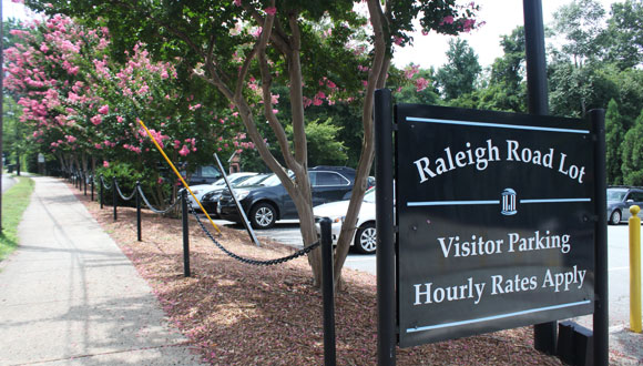 Signage at entrance of Raleigh Road Visitor Lot.