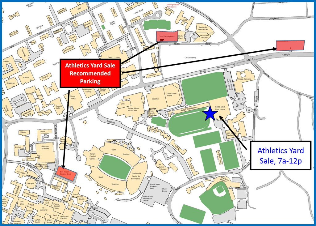 Unc Parking Map UNC Athletics Tar Heel Yard Sale   Transportation and Parking Unc Parking Map