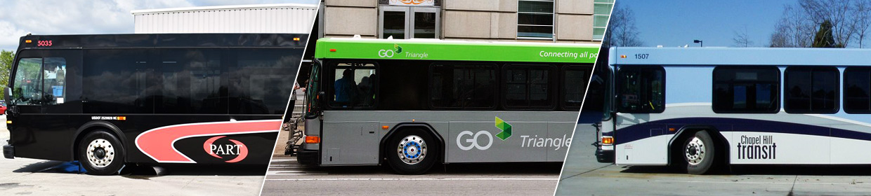 Transit options at UNC include P2P, Chapel Hill Transit, and GoTriangle