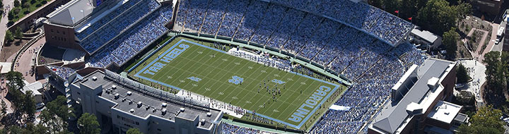 Arial view of Kenan Stadium on gameday