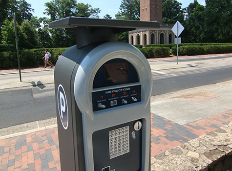 Solar-powered parking Meter near South Road.