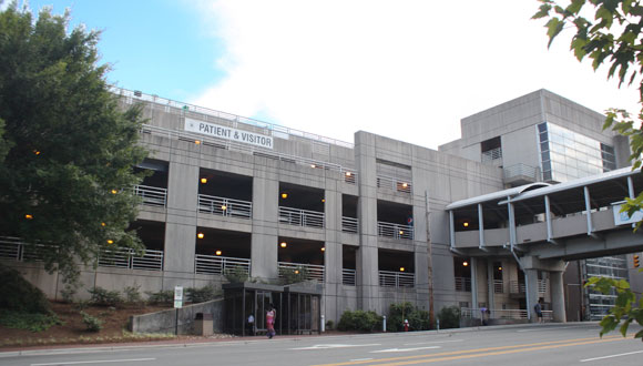 Dogwood Parking Deck exterior including pedestrian overpass.