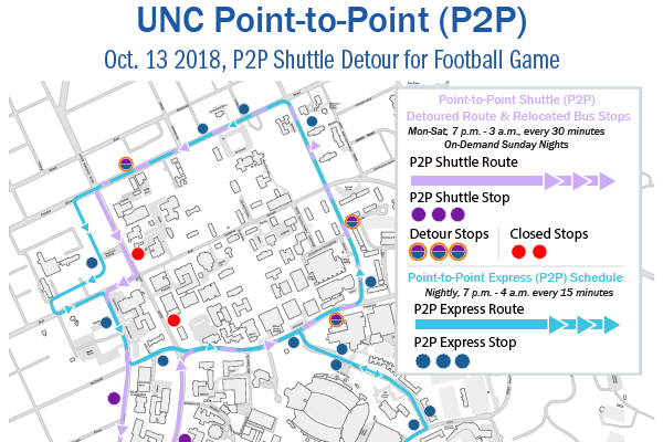 Baity Hill P2P Shuttle Re-Route for Oct. 13 Football Game