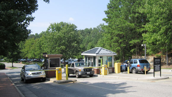 Cars at entrance of Ambulatory Care Lot (ACC).