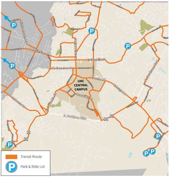 Chapel Hill Transit Routes and Park & Ride Lots