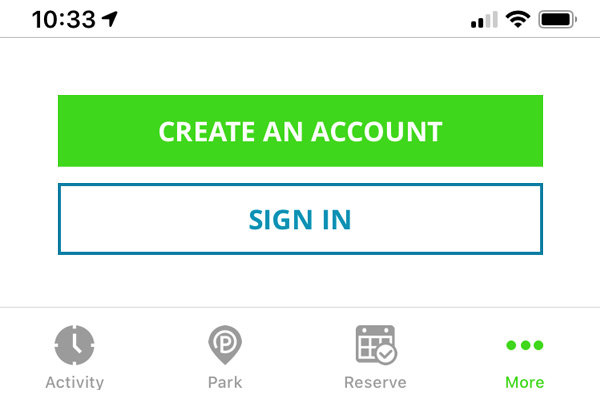 ParkMobile Login/Signup
