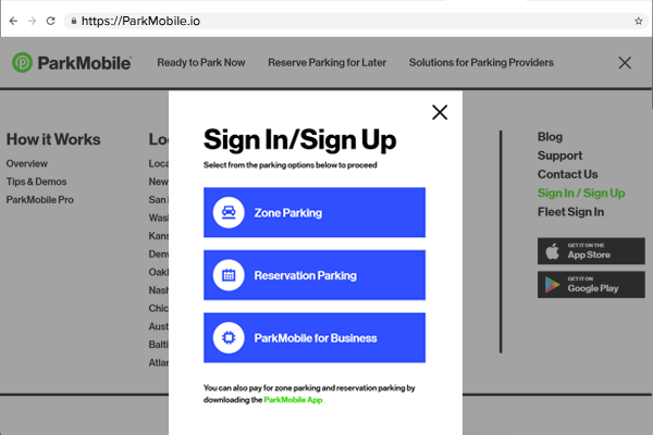 ParkMobile Sign In/Sign Up