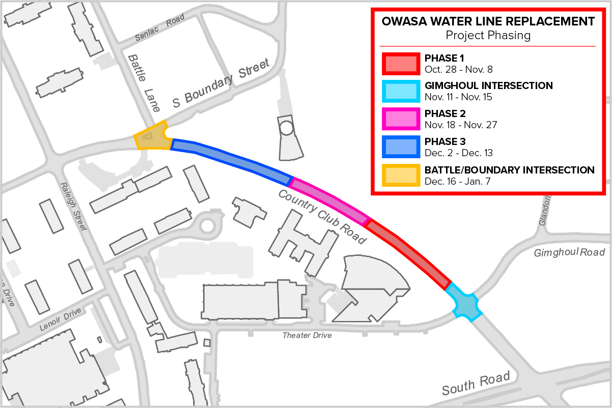 OWASA Water Line Replacement Phase Map