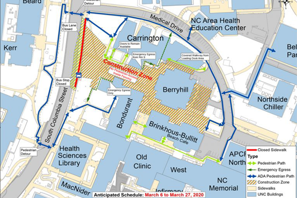 Pedestrian and Traffic map of the Medical Education Building Project