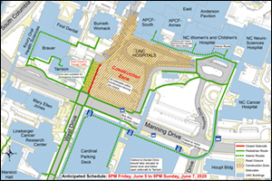 Pedestrian and Traffic map of the Hospital Surgical Tower Project