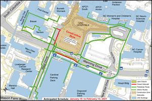 Manning Drive Lane Closure Map