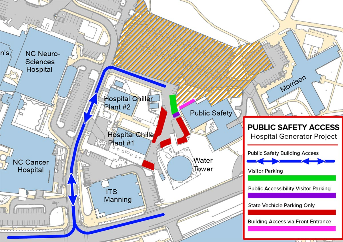 Map of Public Safety Building Vehicle Access